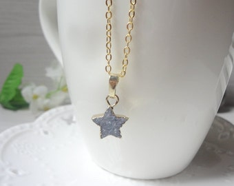 blue star Druzy Necklace, Winter Jewelry, Gift for Her, Raw Crystal Necklace