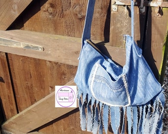 Jeans bag PDF Sewing Pattern ,Purse Pattern ,Shoulder Bag Sewing Pattern PDF, Upcycling project, adjustable strap tutorial, easy sewing