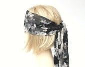 black head scarf bohemian hair wrap floral jersey head wrap xl long head band hair loss head cover headwrap headscarf boho hair accessory