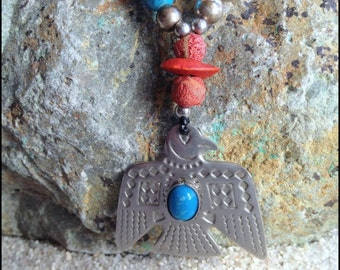 Thunderbird Native American Style,Symbolic Bird Necklace,Southwestern Necklace,Thunderbird Indian Necklace,Thunderbird Jewelry,Tribal jewelr