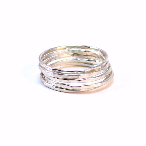 5 Skinny Silver Stacking Rings - Hammered, Smooth, or Mixed - Stackable Statement Rings
