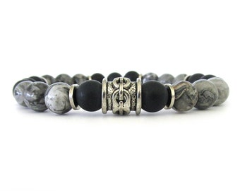 Gray Jasper Men's Bracelet with Matte Black Onyx Beads and Pewter Accents - Men's Jewelry - Bracelets for Men - Beaded Bracelet - M0113