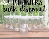 7 Tumblers BULK DISCOUNT: Personalized Wine Tumblers, Beach Theme Tumblers, Bachelorette Party Cups, Stemless Wine Cup, Bev2Go