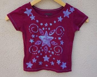 Purple Kids Tshirt, Batik Tshirt for Child, Stars and Swirls, One of a Kind Kids Clothing, Purple Star Top, Boho Clothing // Size 3T