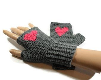 Grey and Pink Heart Gloves, Ladies Crochet  Gloves, Womens Fingerless  Gloves, FREE UK P&P , Non Animal Fibres, Stocking Fillers