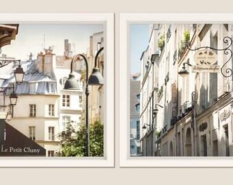 Paris  Wall art set of 2 photography, beige living room, Paris prints, large wall art, architecture art, large poster, 11x14, 16x20, 20x24