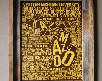 Kalamazoo Michigan - Western Michigan University - Whimsical College Word Map (Brown & Gold) - Unframed