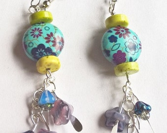 Cute Dangle Earrings: Flower Patterned Dyed Turquoise, Apple Green Dyed Turquoise, Blue and Purple Flower Charms