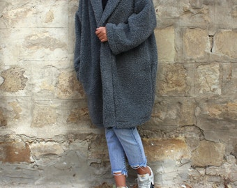 Oversized coat/ Wool Coat/ Grey coat/ Belted Coat/ Plus Size Coat/ Womens Coat/ Cardigan Coat