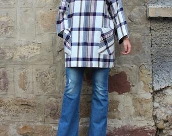 Plaid Mini dress, Fall Winter dress, Oversized dress, Tunic, Long sleeves dress, Day dress, Casual dress, Tunic dress