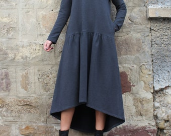 High Low Dress / Grey Dress / Church Dress / Long Sleeve Midi Dress / Womens Plus Size Clothing / Pocket Dress
