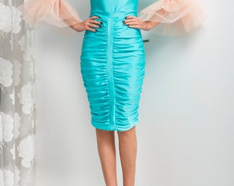 HOLIDAY Turquoise bodycon dress, Midi dress, Bodycon dress, Fitted dress, off shoulders Dress, Party dress, Evening dress, Prom dress
