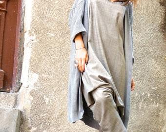 New Collection AW/15 Melange Beige Viscose  Jumpsuit / Extravagant 7/8 Drop Crotch Jumpsuit by Aakasha A19229