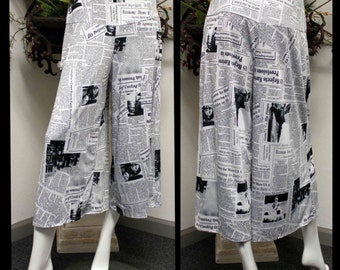 Newspaper Print Cropped Gaucho Pants. S, M,L,XL,. Boho,Holiday,Fun,Work. Limited cut.