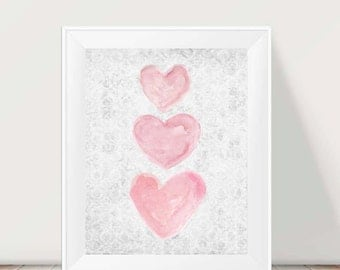 Pink and Gray Girls Decor, 11x14 Watercolor Print, Pink and Gray Art, Pink and Gray Nursery, Pink and Gray Watercolor, Pink and Gray Artwork