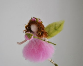 Girls Room Ornament Needle Felted wool mobile    : Pink flower fairy
