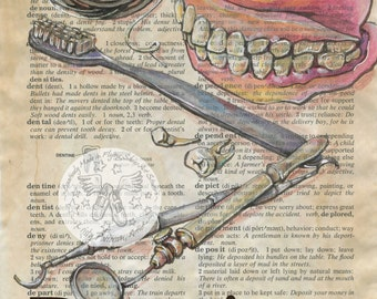 PRINT:  Dentist Mixed Media Drawing on Antique Dictionary
