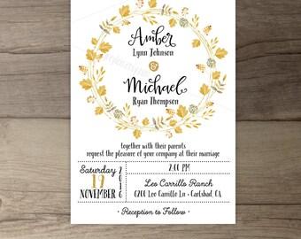 Fall Wedding Invitations • Wreath Floral Leaves • printable
