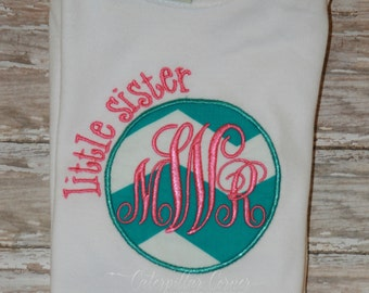 Little Sister Monogrammed shirt - Sibling Shirt - Personalized Little Sister Monogram Shirt