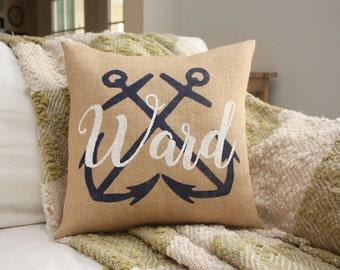 Burlap Pillow - Customizable Last Name Pillow - Anchor Pillow