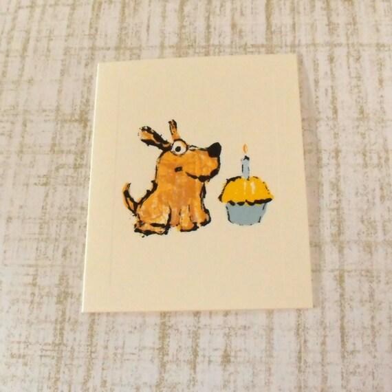 Birthday Card featuring Birthday Dog & Cupcake