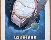 Longines, 1948, vintage, ad, original, watch, Swiss, illustrator R. Bleuer, space, advertisement, free shipping, paper, ephemera