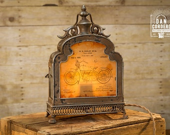 Harley Motorcycle Patent Lantern Table Lamp - Harley Davidson - Desk Lamp - Night Stand - Desk Lamp - Bed Night - Industrial