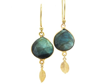 Labradorite Earrings Gold, Gold Dangle Earrings, Gold Leaf Earrings