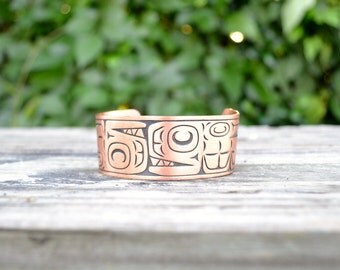 Vintage Copper bracelet Aztec Southwest Native American style design cuff FREE Ship
