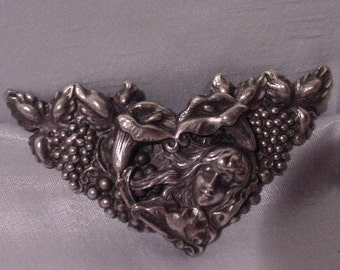 Art Nouveau Belt Buckle Very OLD & Gorgeous Lady and Lilies