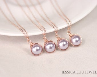 Set of 4-10 Rose Gold Lavender Pearl Necklaces Bridal Pearl Necklaces Rose Gold Bridal Jewelry Rose Gold Necklaces Bridesmaids Gifts