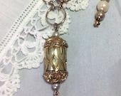 "Repurposed Lantern Necklace Pearls Tassel 22"" Brass Chain Emmons Ornate Pendant Asian Inspired Gold Chain Boho Mid Century WishAnWearJewelry"