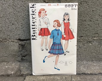 50's Butterick 8821 Girls' One-Piece Dress Girl Size 8 Breast 26 - Factory Folded FF
