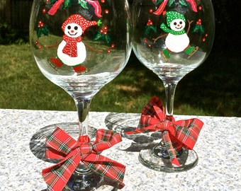 Hand Painted Christmas Wine Glasses With Snowmen, Christmas Glasses, Holiday Glasses, Christmas Gift Ideas, Christmas Decor, Unique Gifts