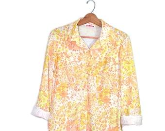 Vintage Floral Print Shirt Daisy Shirt Hippie Shirt Hippy Shirt Boho Top Floral Print Top Daisy Top Daisy Blouse