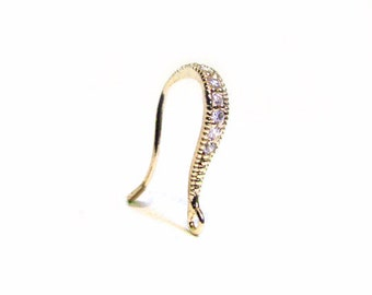 SALE Gold Vermeil Ear Wires 16mm Cubic Zirconia Pave Earwires   RZ102