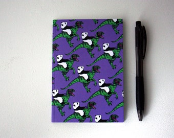 Dinosaur Panda Notebook  A6- notepad - small notebook - dinosaur notebook - panda notebook - sketchbook