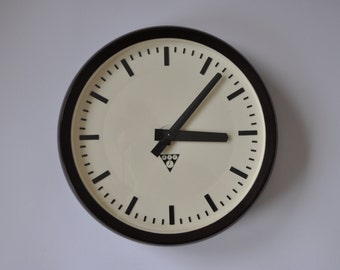 "Vintage Industrial wall clock from PRAGOTRON. 14.5"" Diameter.  Black/Dark Brown Rim.  Czechoslovakia. Czech. 0887"