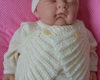 Preemie Baby Outfit 12 inch Chest in Cream Ready to Ship Now