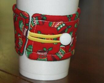 Christmas Stocking Coffee Cup Sleeve, Reusable Coffee Cozy, Gifts Under 10, Secret Santa, Teacher Gift, Gift Basket Filler, Stocking Stuffer
