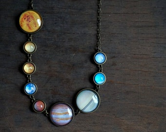 Solar system necklace Planet necklace Space jewelry Cabochon necklace Galaxy antique brass necklace Gift for her