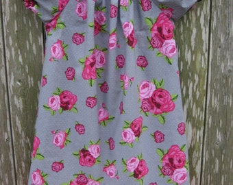Girls Spring Dress, Peasant Style, Pink Roses & Lace