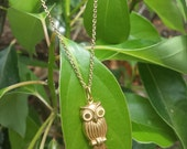 14kt Yellow Gold Owl Necklace A355