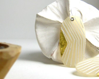White Polymer Clay Arrow Earrings with Gold. Light Earrings. Gift for her.