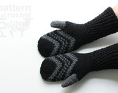 DIY Crochet PATTERN - Fair Isle Crochet Chevron Mittens - Mens Large (2016004)