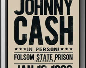 Johnny Cash Folsom Prison Replica Poster
