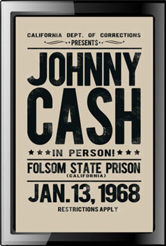 johnny cash folsom prison replica poster. Black Bedroom Furniture Sets. Home Design Ideas