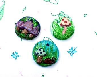 Mushroom Pendants, Mushroom Jewelry, Fairy Ring, Fairy Ring Necklace, Mushroom Necklace, Nature Jewelry, Woodland Jewelry, woodland Pendant