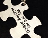 """Fun Keychain Hand Stamped keychain """"You are my missing piece"""" puzzle piece personalized with our shop name."""