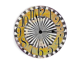Funky orange and yellow striped wall clock with black and white border. Circle design.